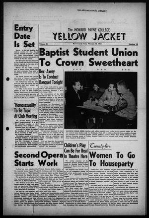 The Howard Payne College Yellow Jacket (Brownwood, Tex.), Vol. 48, No. 18, Ed. 1  Friday, February 10, 1961