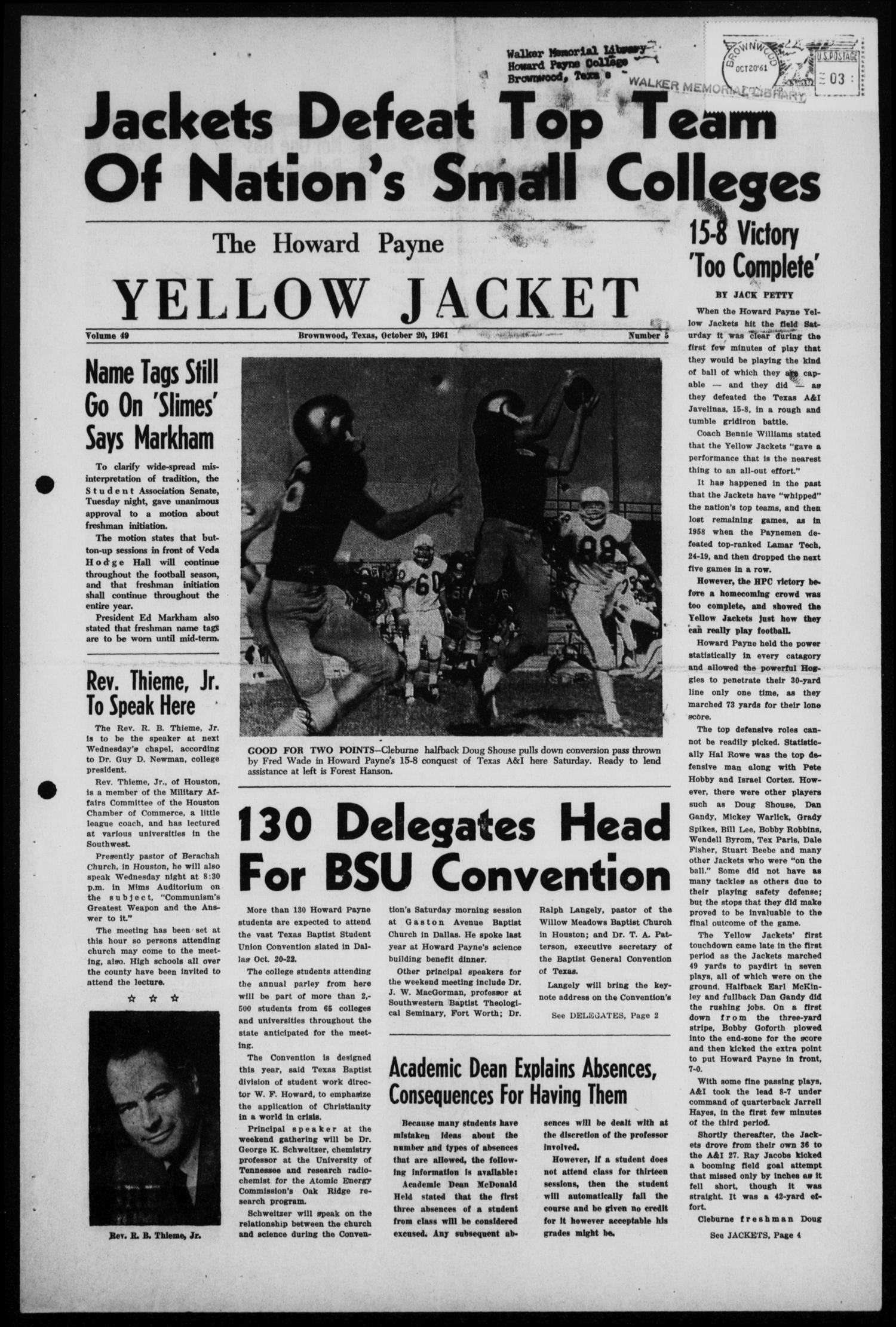 The Howard Payne Yellow Jacket (Brownwood, Tex.), Vol. 49, No. 5, Ed. 1  Friday, October 20, 1961                                                                                                      [Sequence #]: 1 of 4