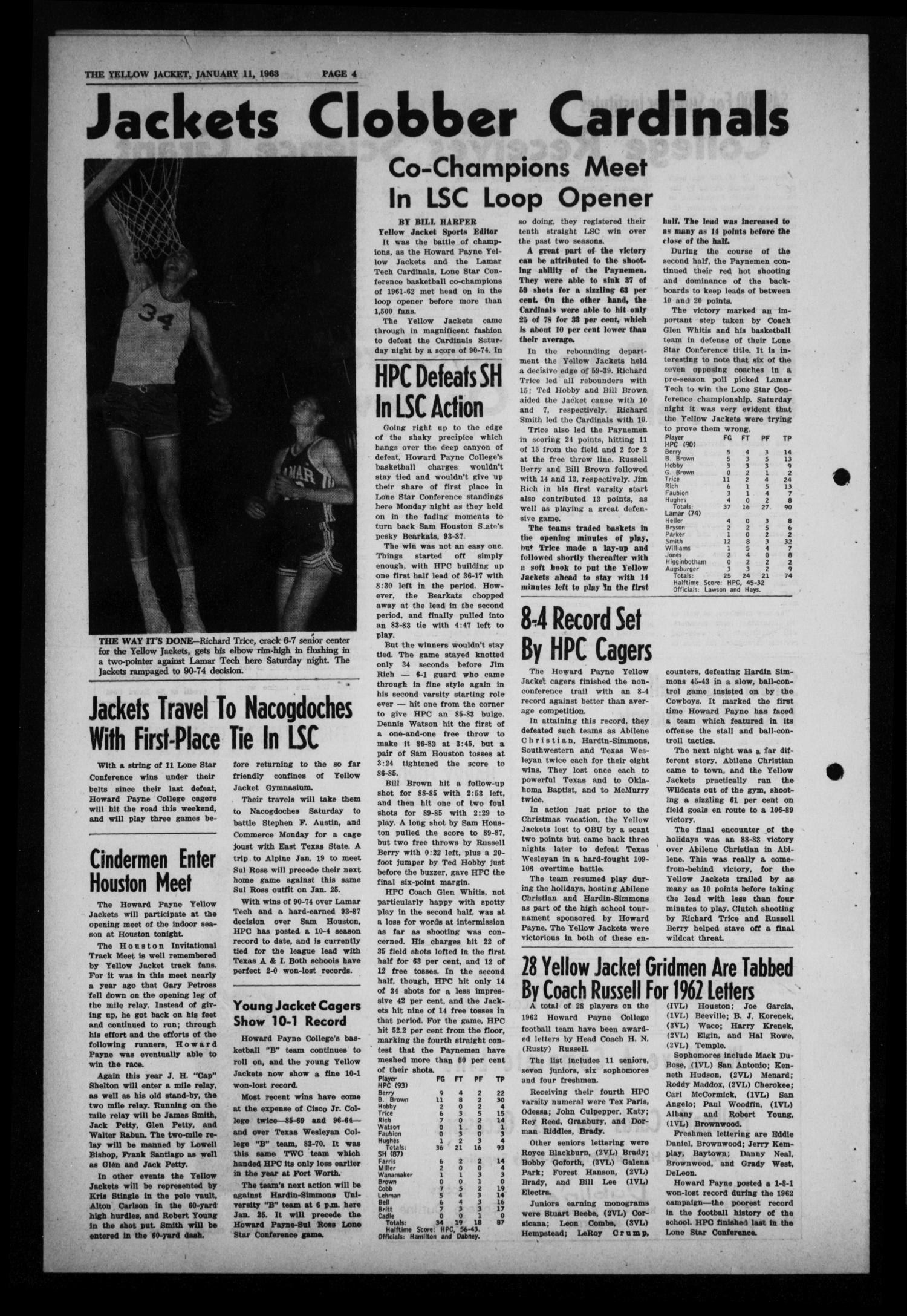 The Howard Payne College Yellow Jacket (Brownwood, Tex.), Vol. 50, No. 13, Ed. 1  Friday, January 11, 1963                                                                                                      [Sequence #]: 4 of 4