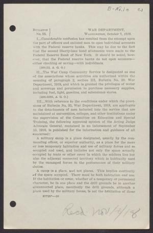 [U.S. War Department Bulletin 55, October 7, 1918]