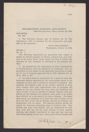 [Fort Sam Houston Bulletin 136]