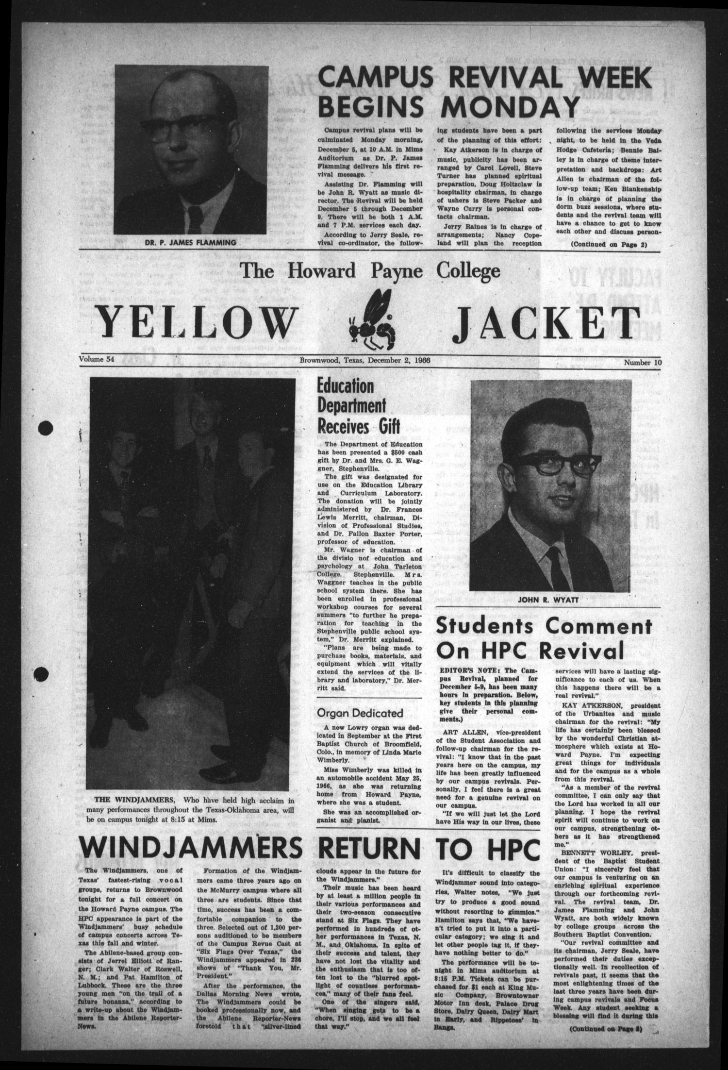 The Howard Payne College Yellow Jacket (Brownwood, Tex.), Vol. 54, No. 10, Ed. 1  Friday, December 2, 1966                                                                                                      [Sequence #]: 1 of 4