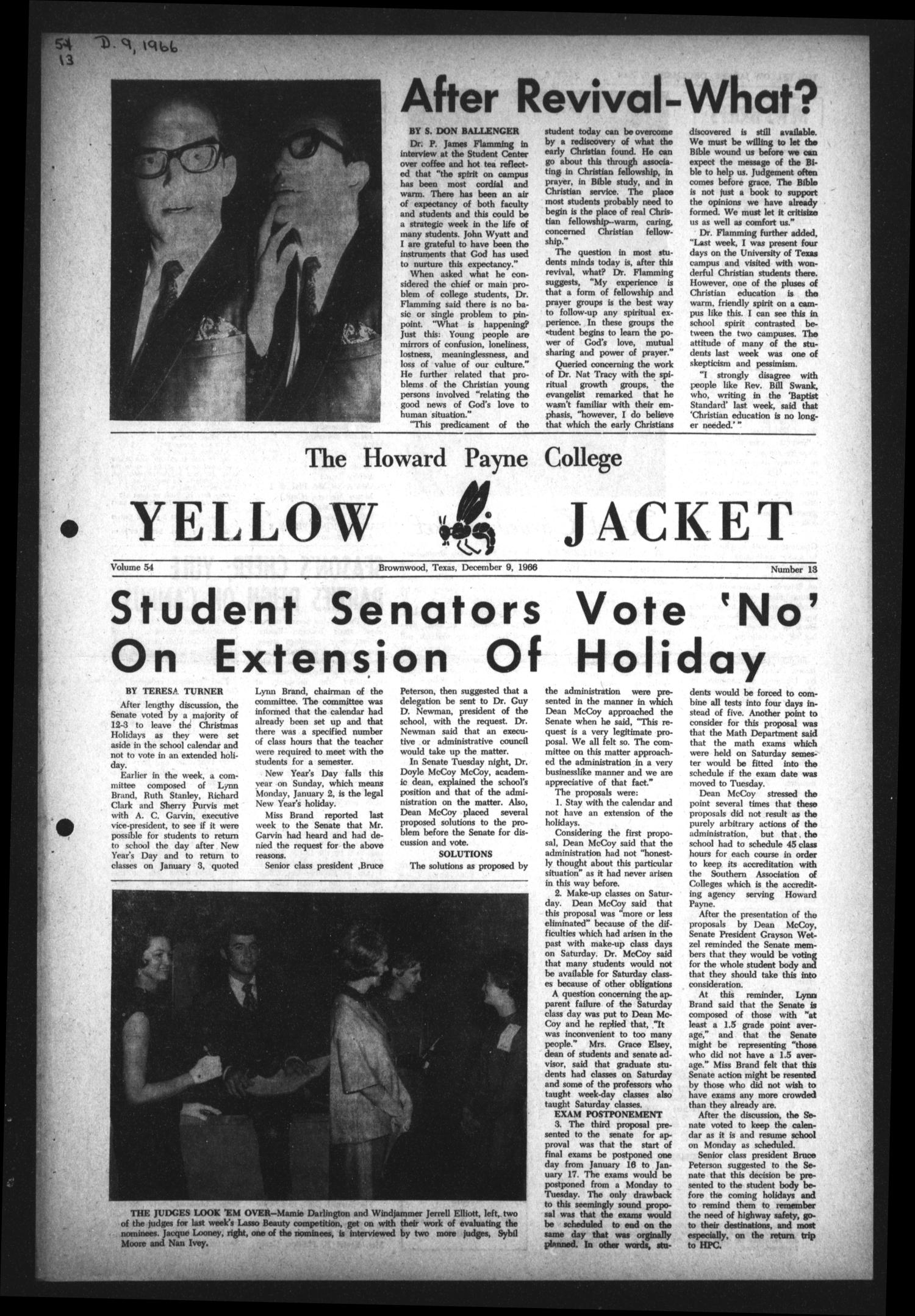 The Howard Payne College Yellow Jacket (Brownwood, Tex.), Vol. 54, No. 13, Ed. 1  Friday, December 9, 1966                                                                                                      [Sequence #]: 1 of 4