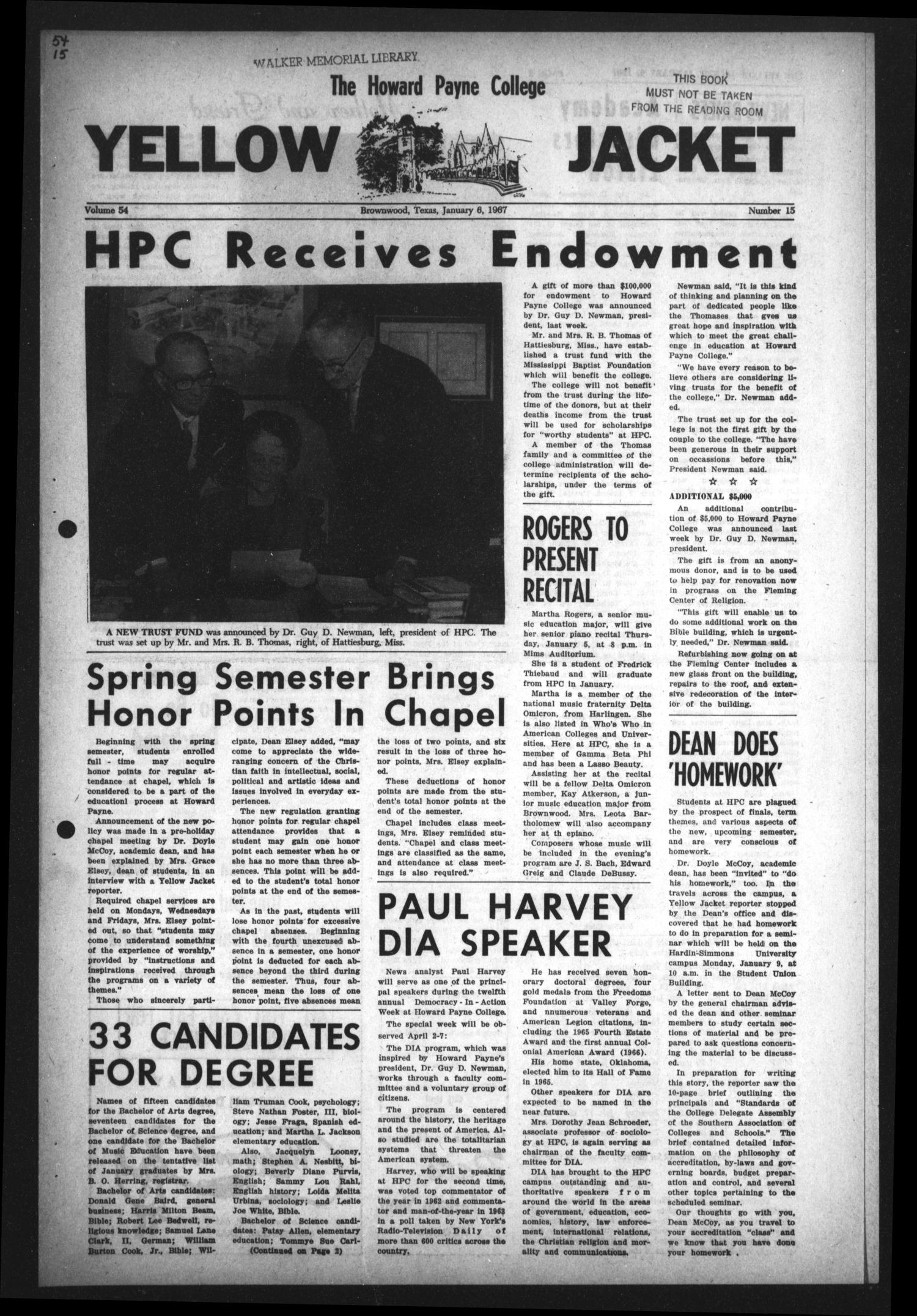 The Howard Payne College Yellow Jacket (Brownwood, Tex.), Vol. 54, No. 15, Ed. 1  Friday, January 6, 1967                                                                                                      [Sequence #]: 1 of 4