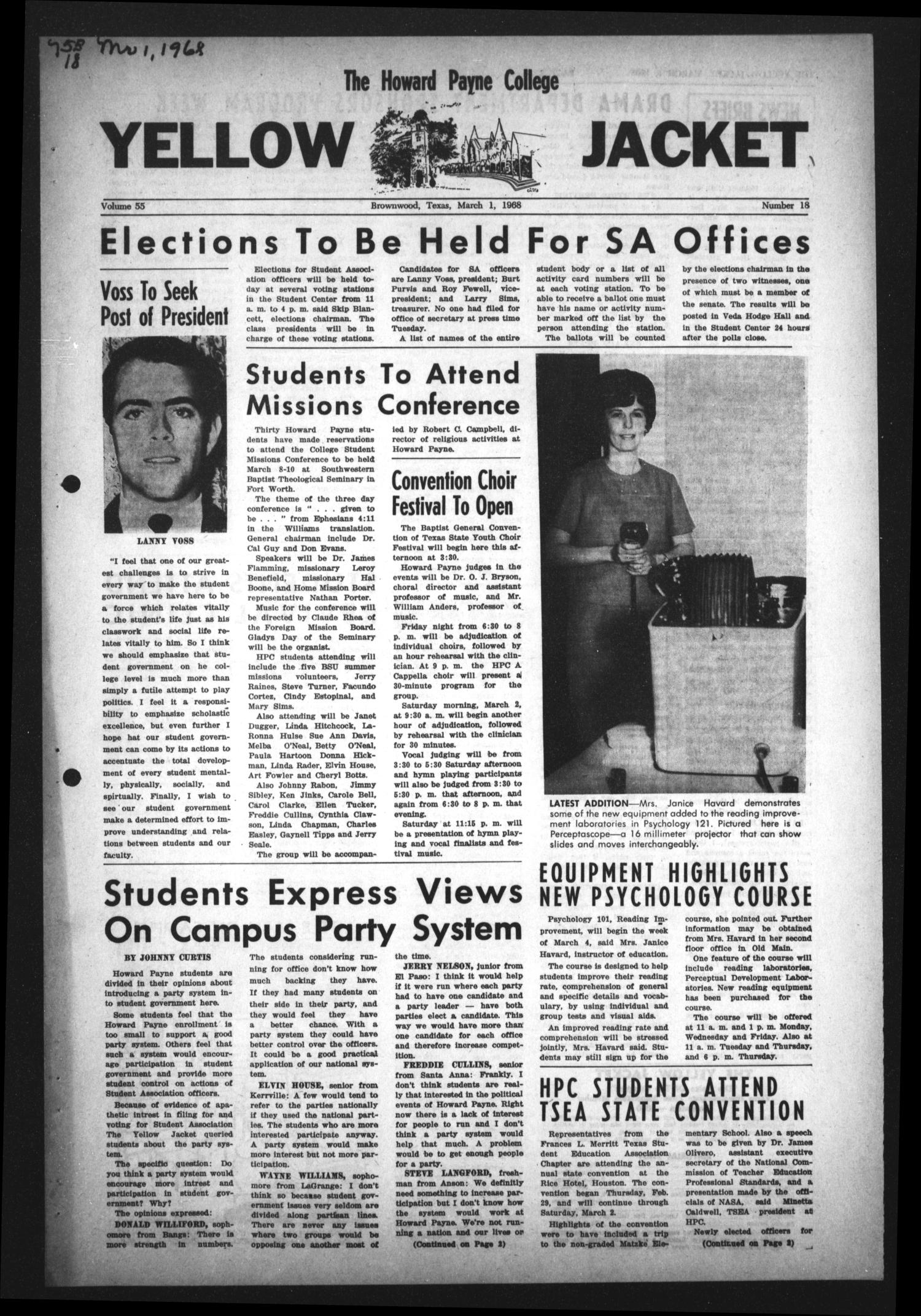 The Howard Payne College Yellow Jacket (Brownwood, Tex.), Vol. 55, No. 18, Ed. 1  Friday, March 1, 1968                                                                                                      [Sequence #]: 1 of 4
