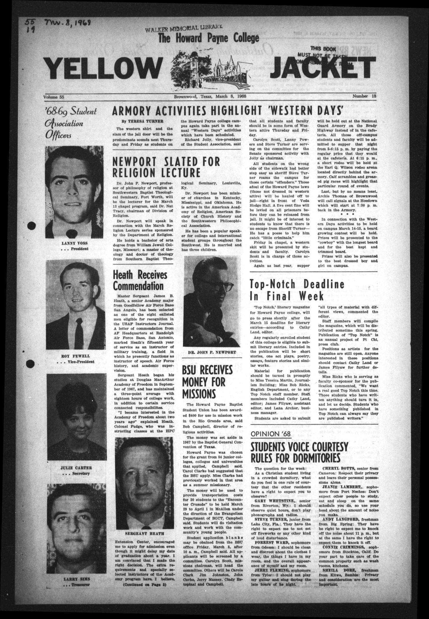 The Howard Payne College Yellow Jacket (Brownwood, Tex.), Vol. 55, No. 18, Ed. 1  Friday, March 8, 1968                                                                                                      [Sequence #]: 1 of 4