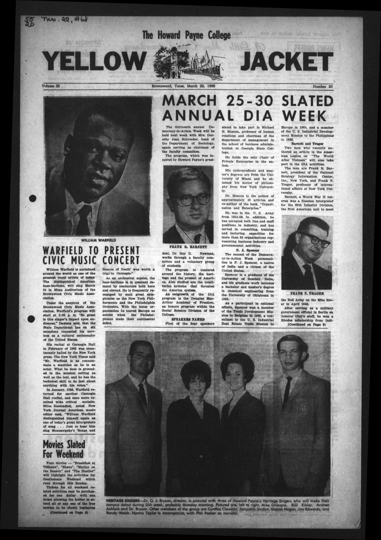 The Howard Payne College Yellow Jacket (Brownwood, Tex.), Vol. 55, No. 20, Ed. 1  Friday, March 22, 1968                                                                                                      [Sequence #]: 1 of 4