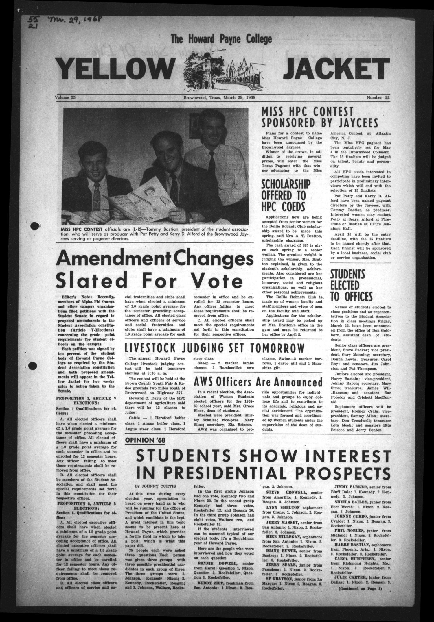 The Howard Payne College Yellow Jacket (Brownwood, Tex.), Vol. 55, No. 21, Ed. 1  Friday, March 29, 1968                                                                                                      [Sequence #]: 1 of 4