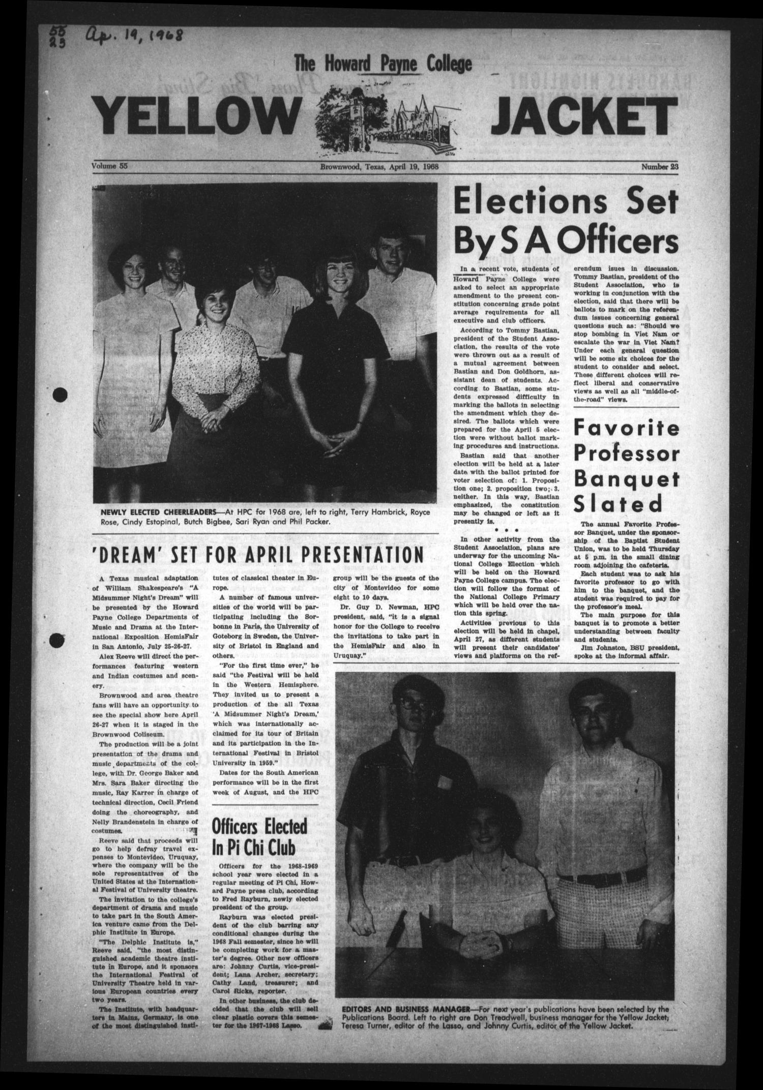 The Howard Payne College Yellow Jacket (Brownwood, Tex.), Vol. 55, No. 23, Ed. 1  Friday, April 19, 1968                                                                                                      [Sequence #]: 1 of 4