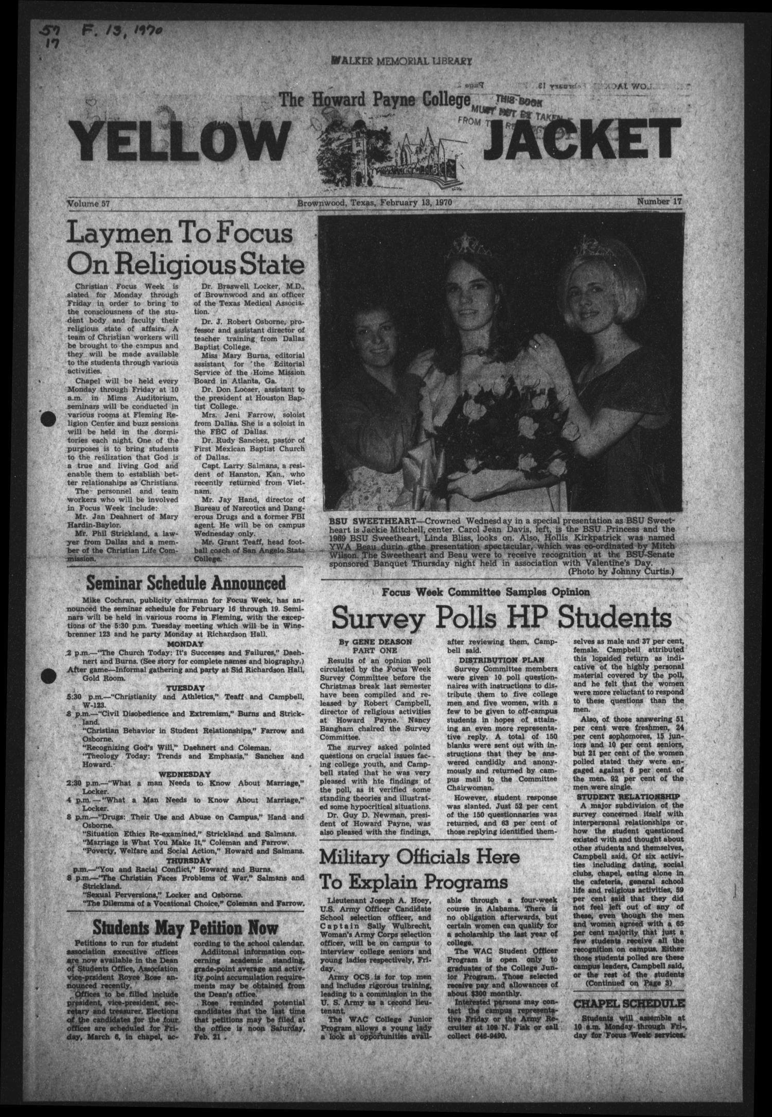 The Howard Payne College Yellow Jacket (Brownwood, Tex.), Vol. 57, No. 17, Ed. 1  Friday, February 13, 1970                                                                                                      [Sequence #]: 1 of 4