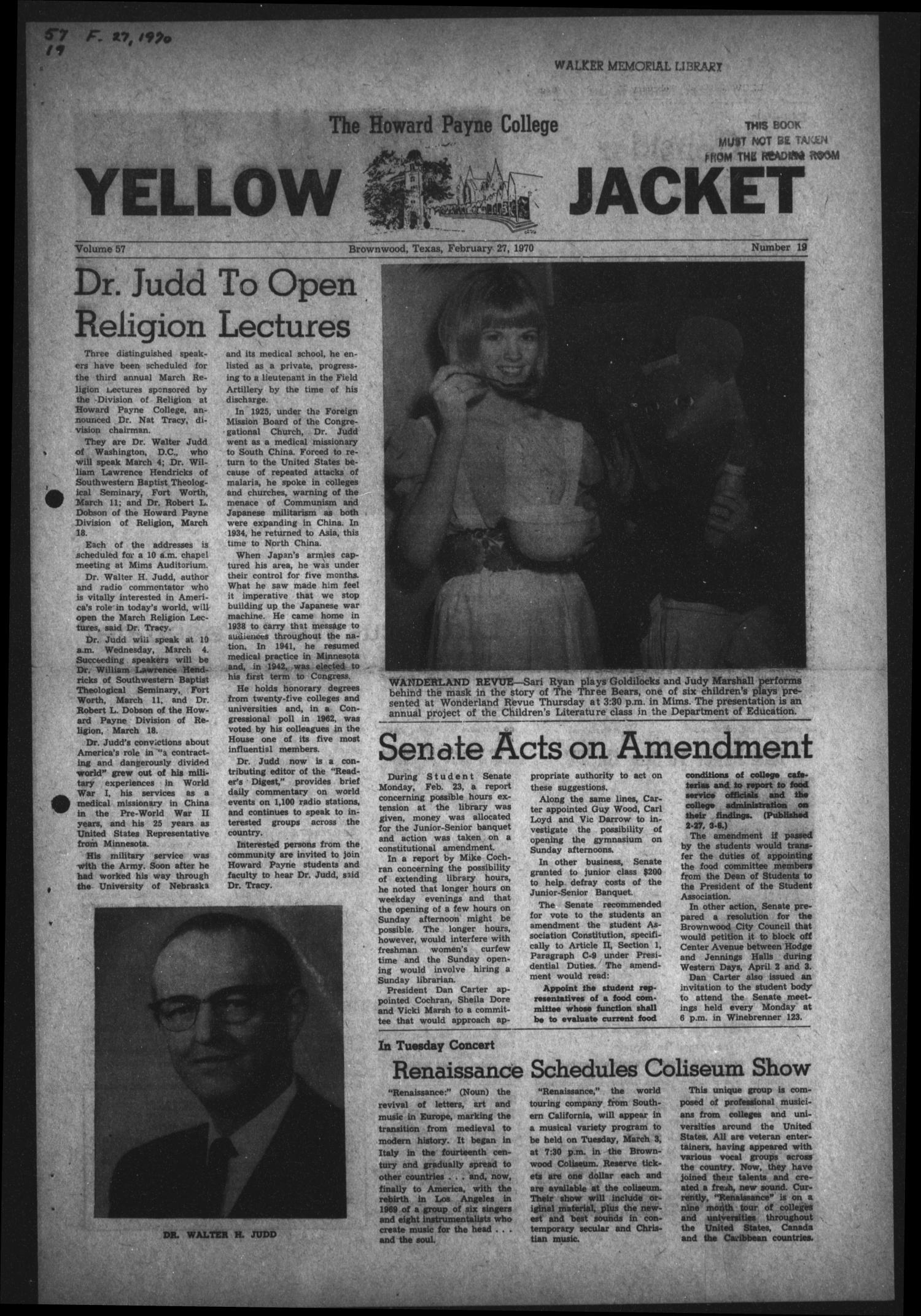 The Howard Payne College Yellow Jacket (Brownwood, Tex.), Vol. 57, No. 19, Ed. 1  Friday, February 27, 1970                                                                                                      [Sequence #]: 1 of 4
