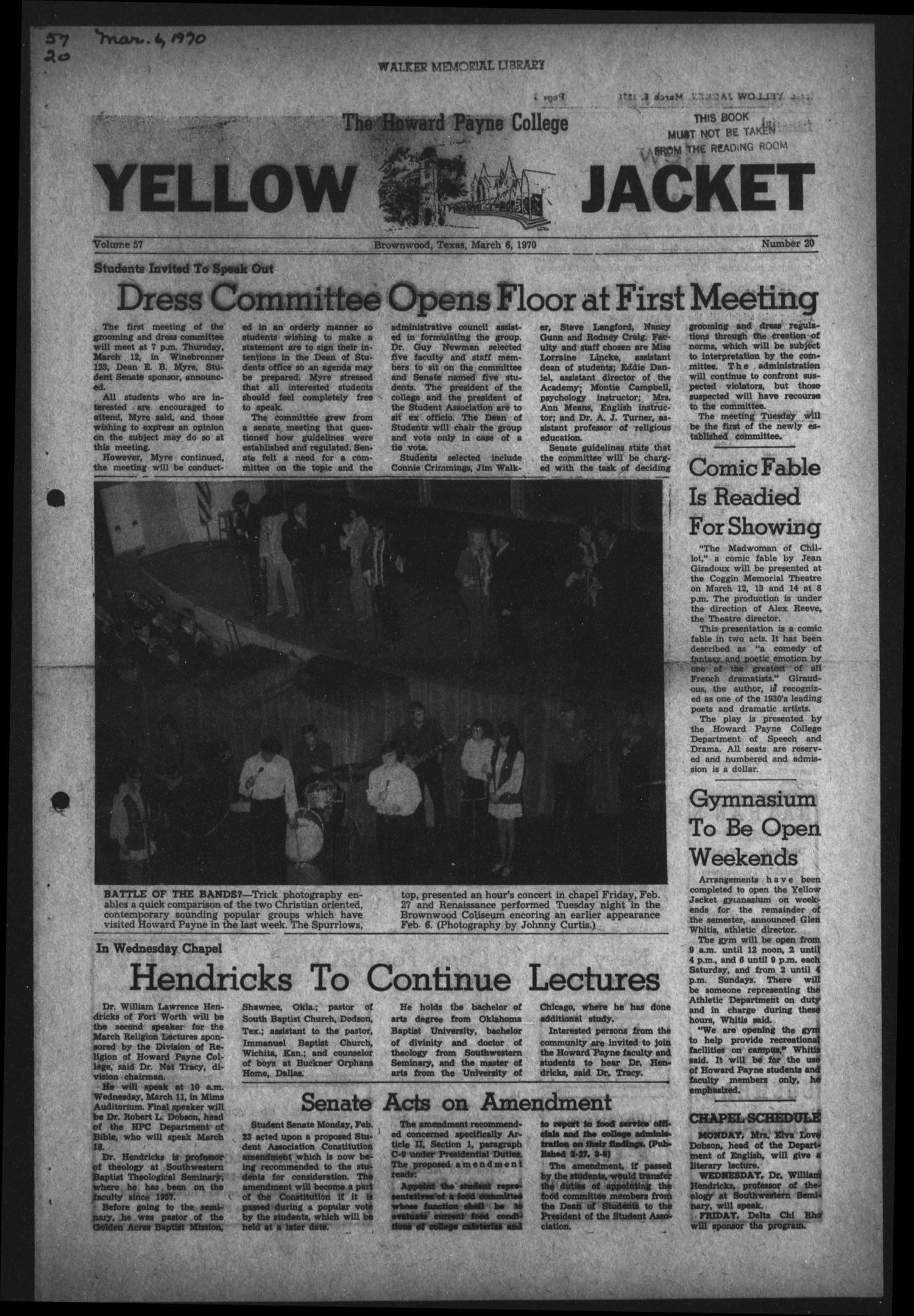 The Howard Payne College Yellow Jacket (Brownwood, Tex.), Vol. 57, No. 20, Ed. 1  Friday, March 6, 1970                                                                                                      [Sequence #]: 1 of 4