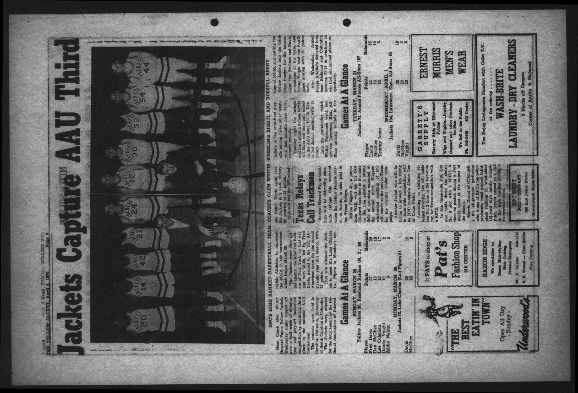 The Howard Payne College Yellow Jacket (Brownwood, Tex.), Vol. 57, No. 23, Ed. 1  Friday, April 3, 1970                                                                                                      [Sequence #]: 4 of 4