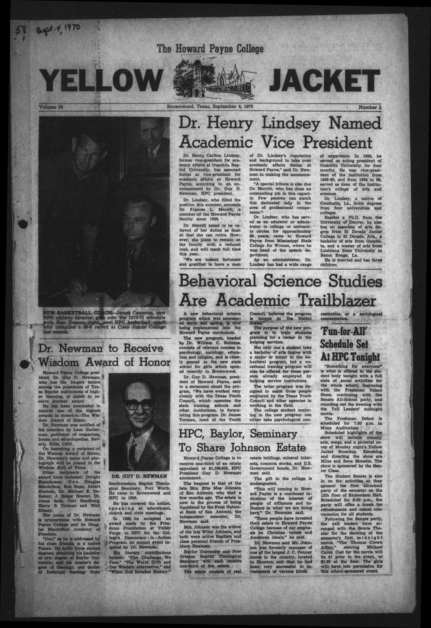 The Howard Payne College Yellow Jacket (Brownwood, Tex.), Vol. 58, No. 1, Ed. 1  Friday, September 4, 1970                                                                                                      [Sequence #]: 1 of 4