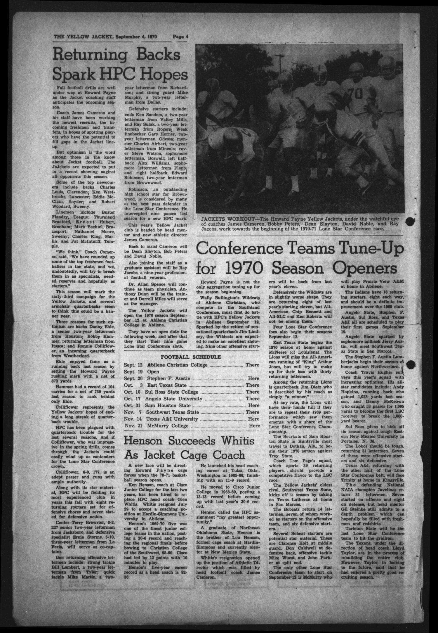 The Howard Payne College Yellow Jacket (Brownwood, Tex.), Vol. 58, No. 1, Ed. 1  Friday, September 4, 1970                                                                                                      [Sequence #]: 4 of 4