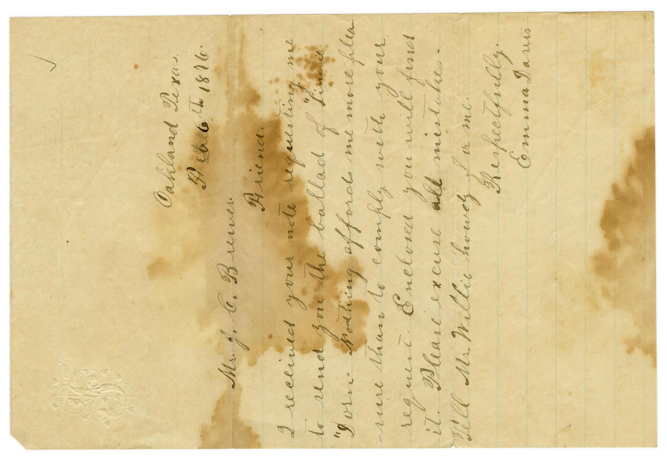 [Letter from Emma Davis to John C. Brewer, February 6, 1876]                                                                                                      [Sequence #]: 1 of 2