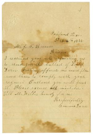 Primary view of object titled '[Letter from Emma Davis to John C. Brewer, February 6, 1876]'.