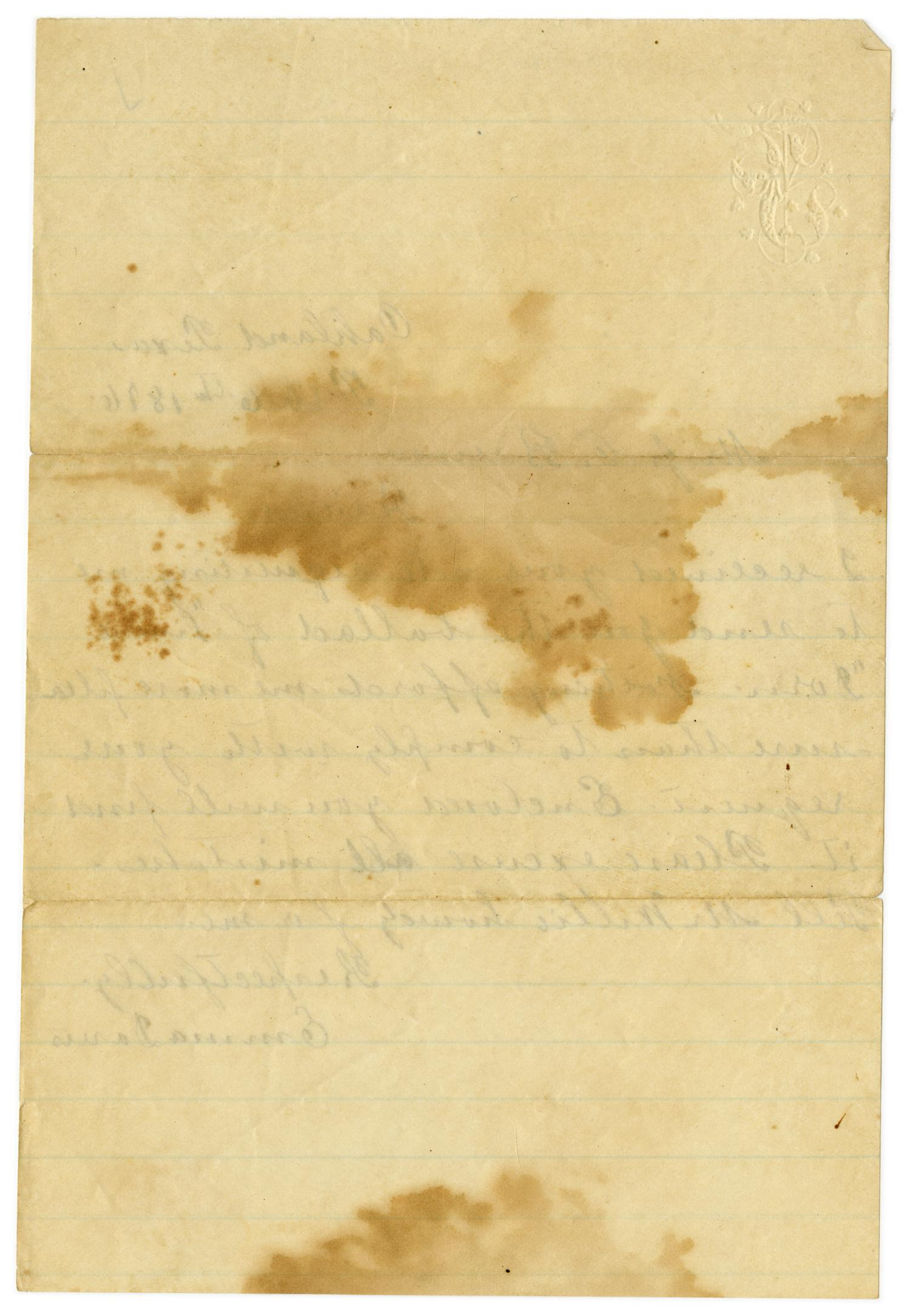[Letter from Emma Davis to John C. Brewer, February 6, 1876]                                                                                                      [Sequence #]: 2 of 2