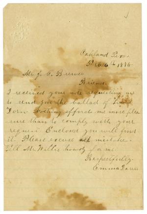 [Letter from Emma Davis to John C. Brewer, February 6, 1876]