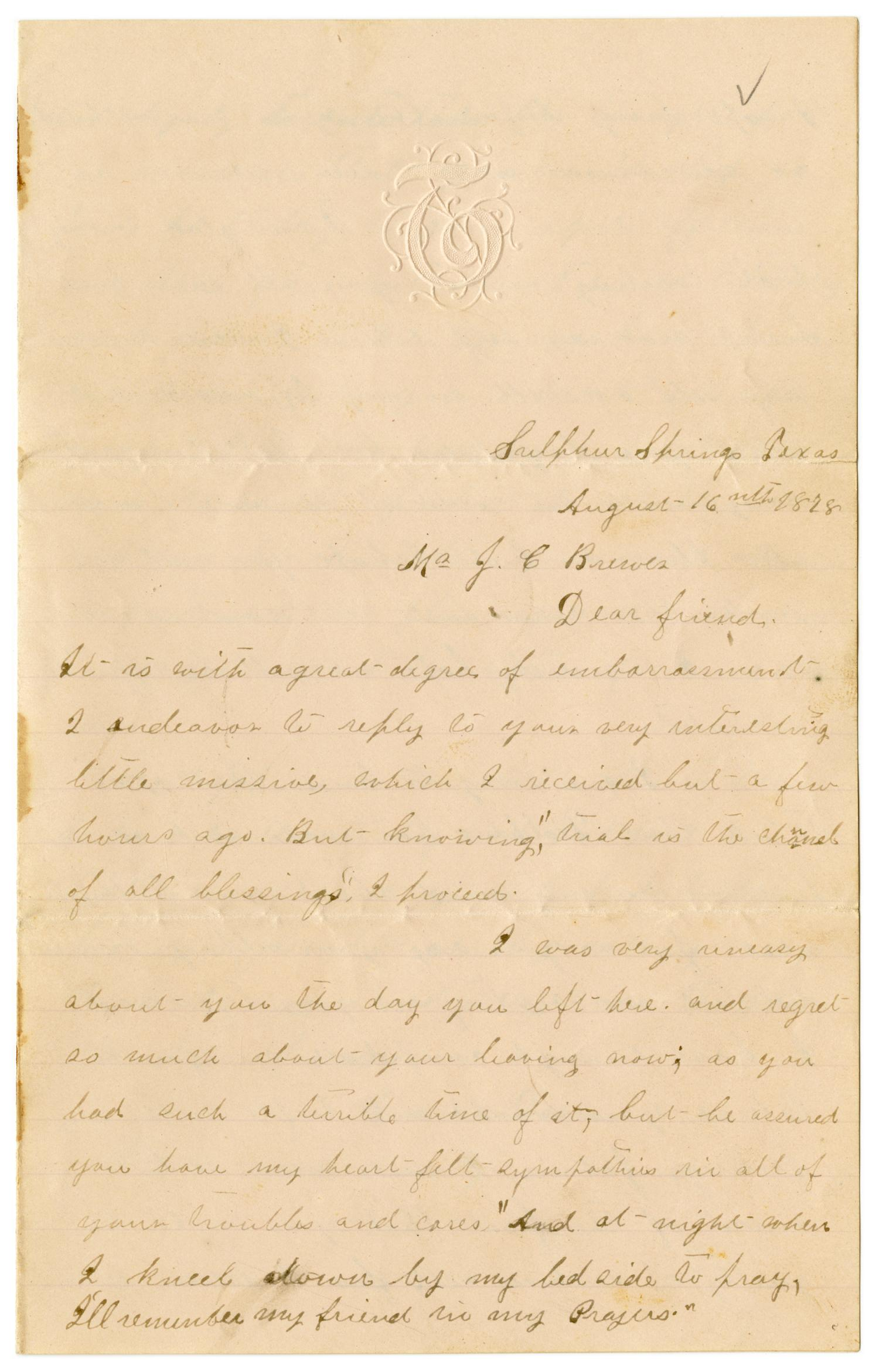 [Letter from Emma Davis to John C. Brewer, August 16, 1878]                                                                                                      [Sequence #]: 1 of 3