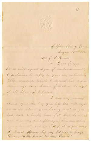 Primary view of object titled '[Letter from Emma Davis to John C. Brewer, August 16, 1878]'.