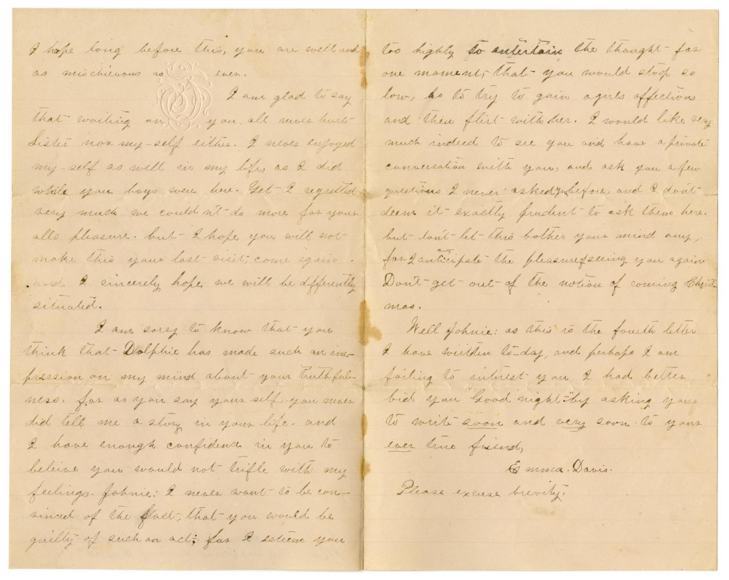 [Letter from Emma Davis to John C. Brewer, August 16, 1878]                                                                                                      [Sequence #]: 2 of 3