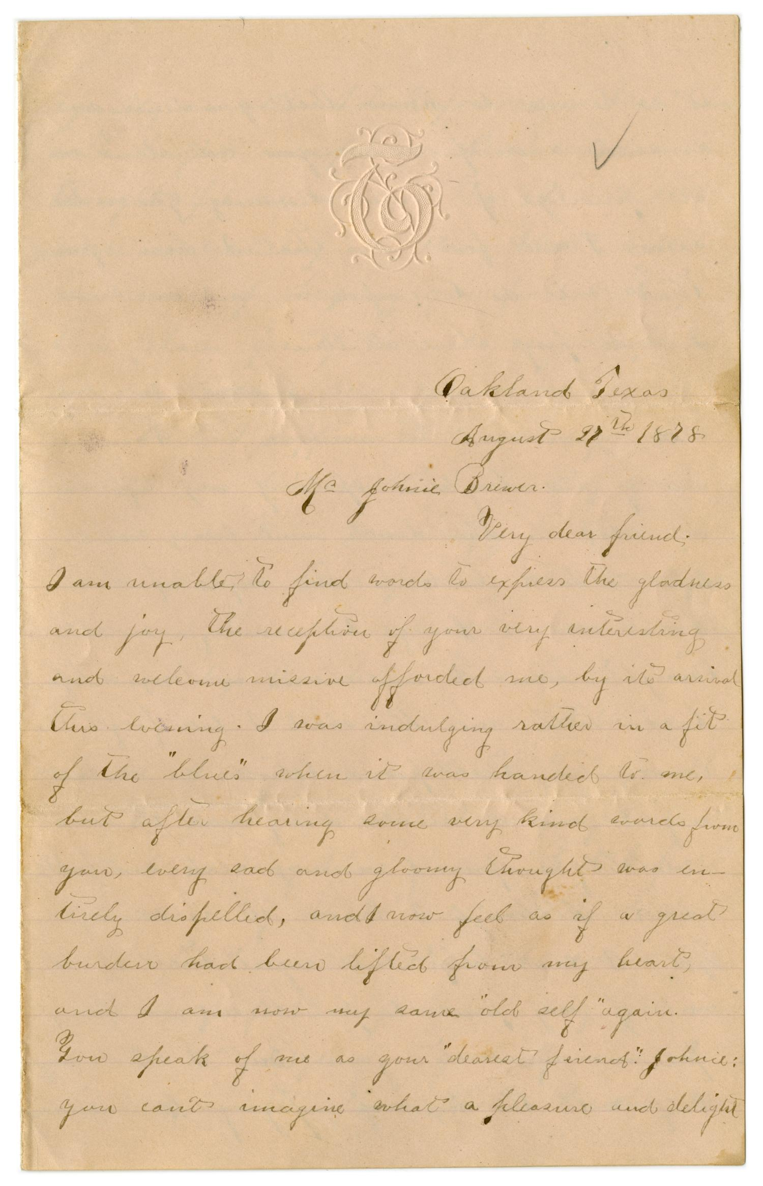 [Letter from Emma Davis to John C. Brewer, August 27, 1878]                                                                                                      [Sequence #]: 1 of 3