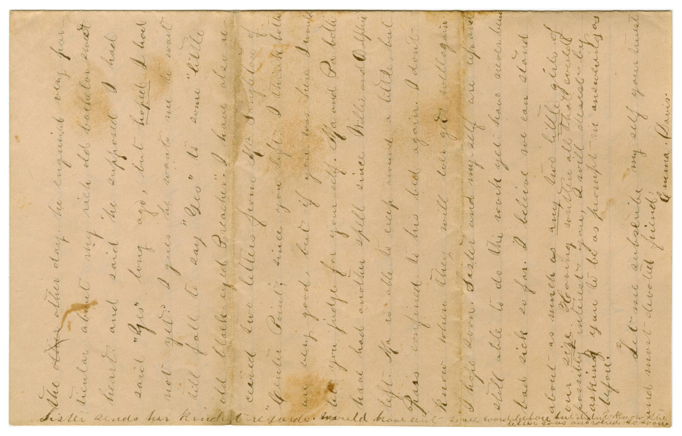 [Letter from Emma Davis to John C. Brewer, August 27, 1878]                                                                                                      [Sequence #]: 3 of 3