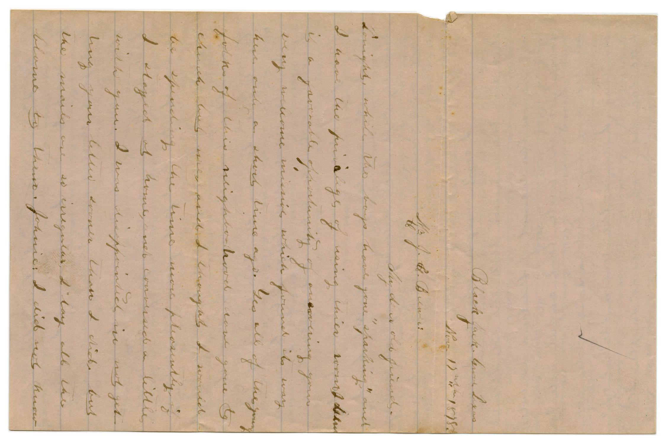 [Letter from Emma Davis to John C. Brewer, November 17, 1878]                                                                                                      [Sequence #]: 1 of 4