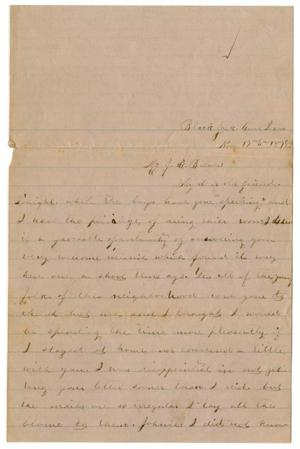 Primary view of object titled '[Letter from Emma Davis to John C. Brewer, November 17, 1878]'.