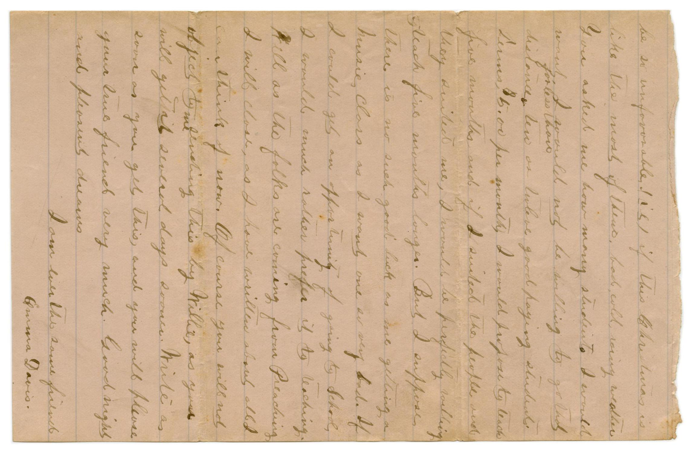 [Letter from Emma Davis to John C. Brewer, November 17, 1878]                                                                                                      [Sequence #]: 4 of 4