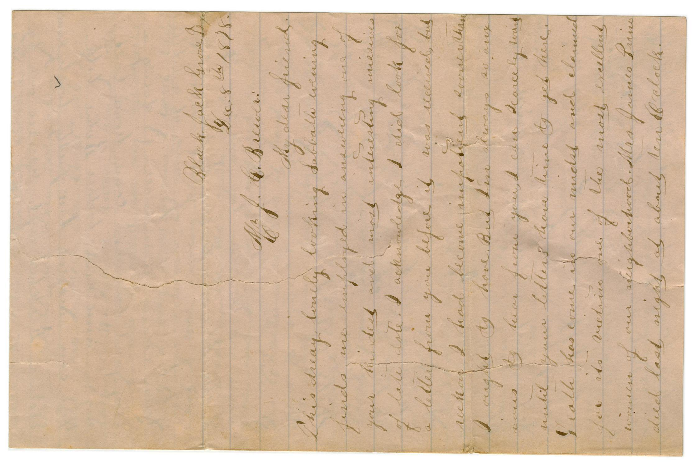 [Letter from Emma Davis to John C. Brewer, December 8, 1878]                                                                                                      [Sequence #]: 1 of 3