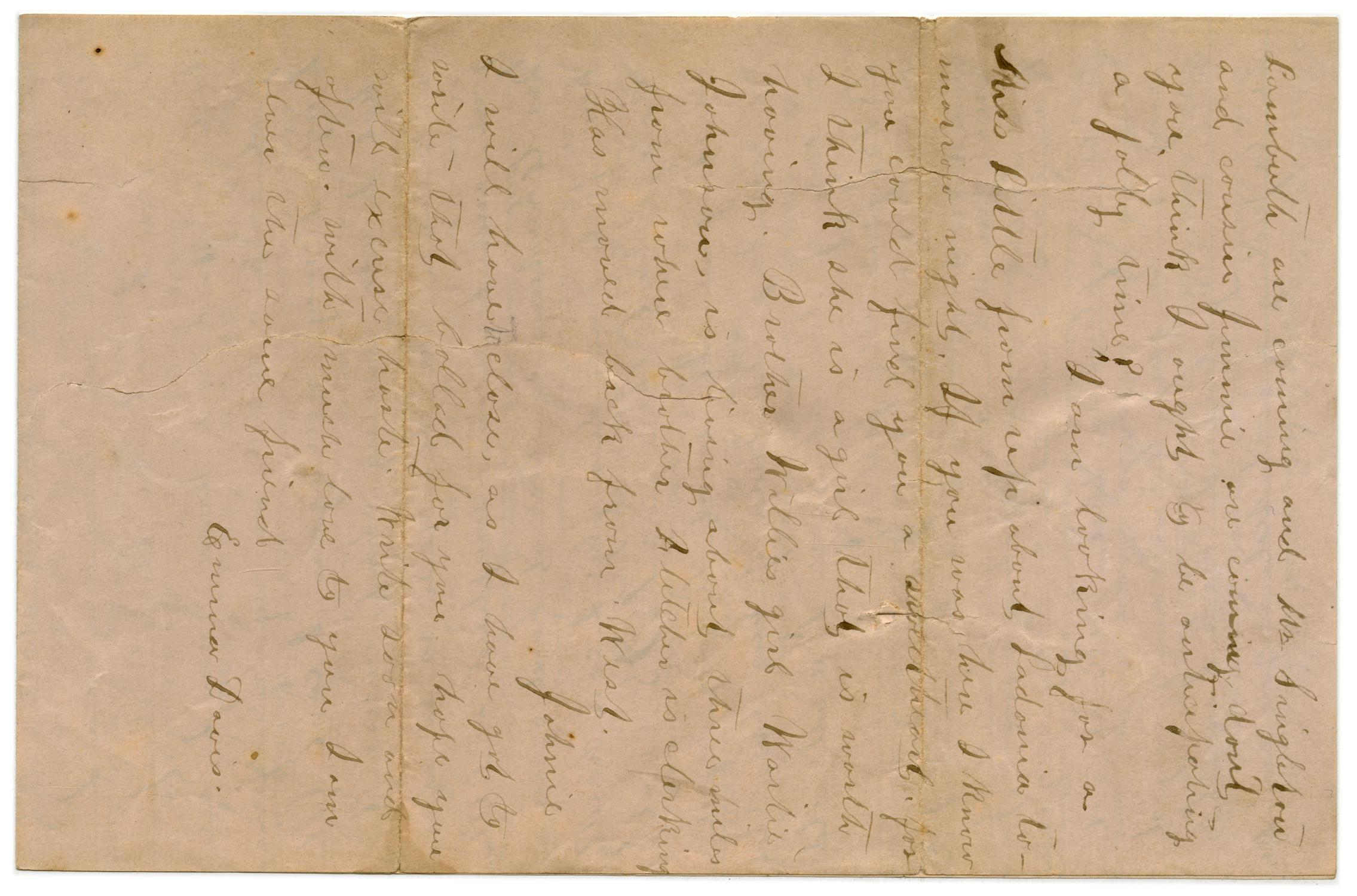[Letter from Emma Davis to John C. Brewer, December 8, 1878]                                                                                                      [Sequence #]: 3 of 3