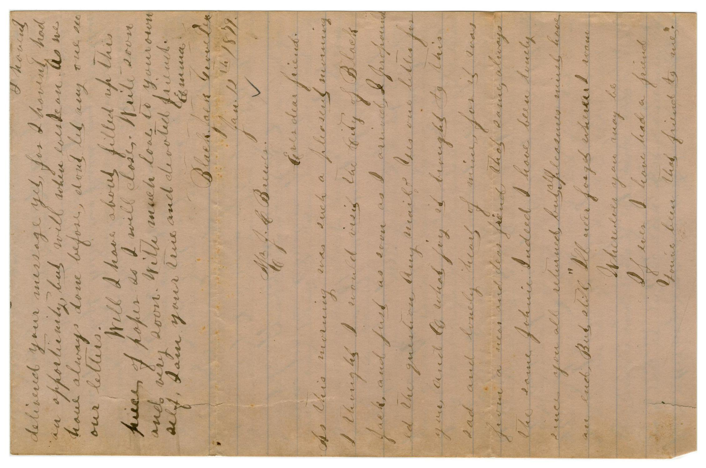 [Letter from Emma Davis to John C. Brewer, January 12, 1879]                                                                                                      [Sequence #]: 1 of 3
