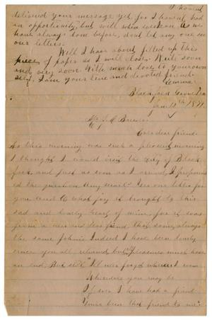 Primary view of object titled '[Letter from Emma Davis to John C. Brewer, January 12, 1879]'.