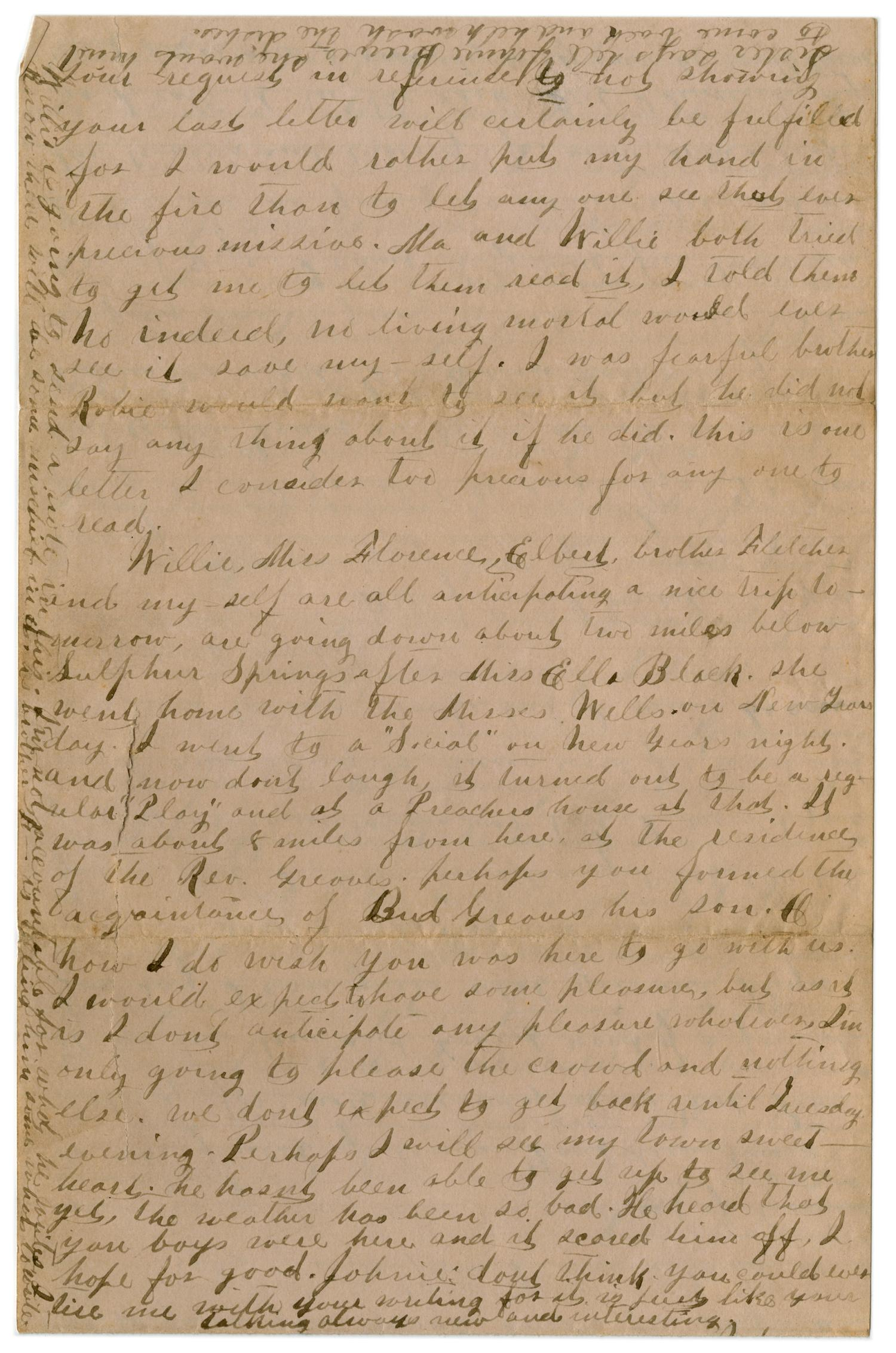 [Letter from Emma Davis to John C. Brewer, January 12, 1879]                                                                                                      [Sequence #]: 3 of 3