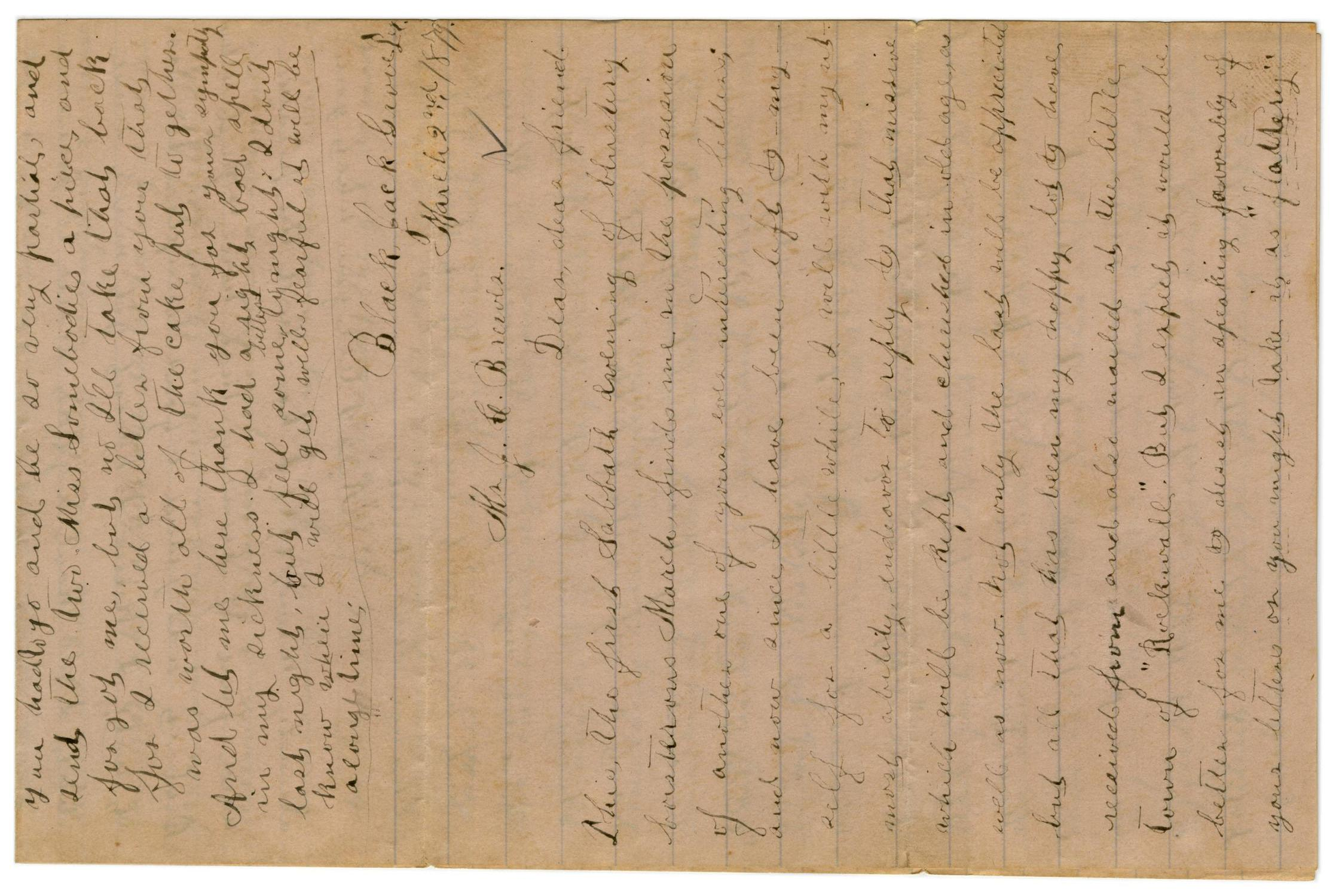[Letter from Emma Davis to John C. Brewer, March 2, 1879]                                                                                                      [Sequence #]: 1 of 6