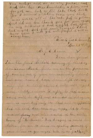 Primary view of object titled '[Letter from Emma Davis to John C. Brewer, March 2, 1879]'.