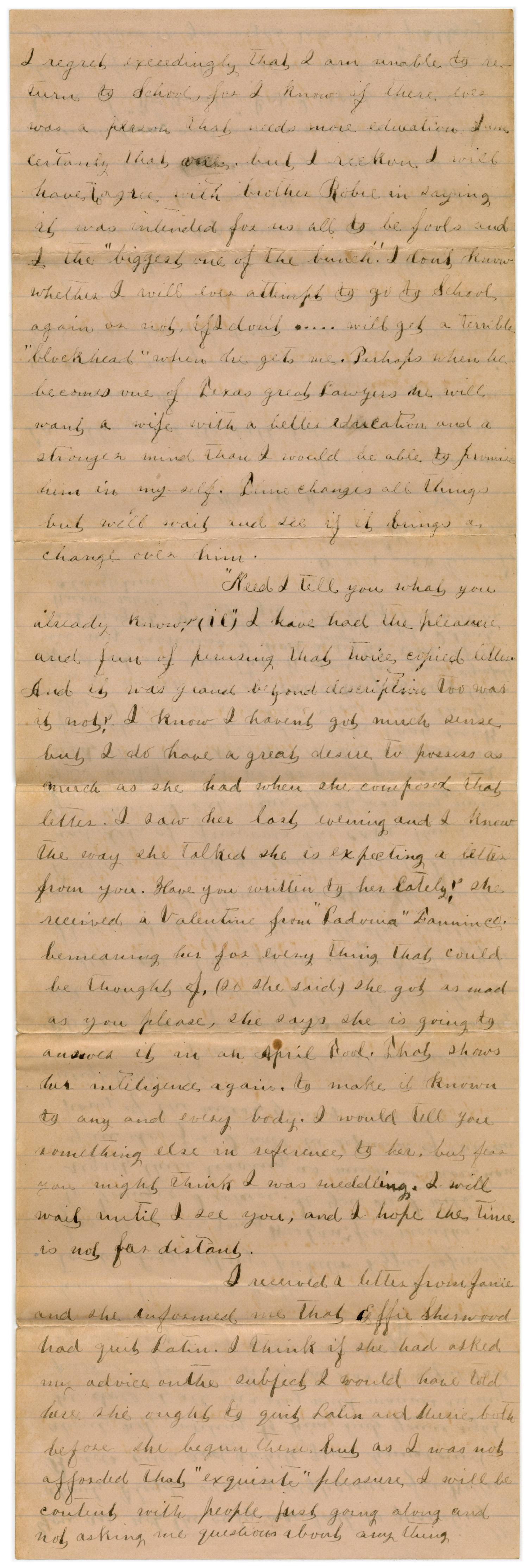 [Letter from Emma Davis to John C. Brewer, March 2, 1879]                                                                                                      [Sequence #]: 2 of 6