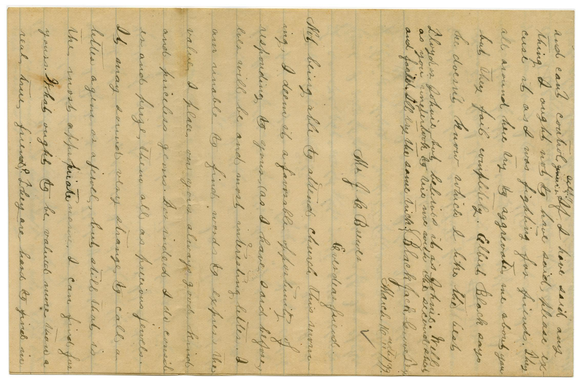 [Letter from Emma Davis to John C. Brewer, March 16, 1879]                                                                                                      [Sequence #]: 1 of 6