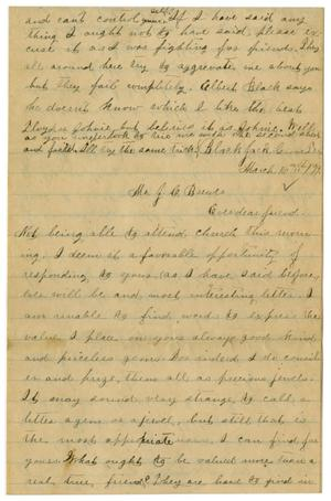 Primary view of object titled '[Letter from Emma Davis to John C. Brewer, March 16, 1879]'.