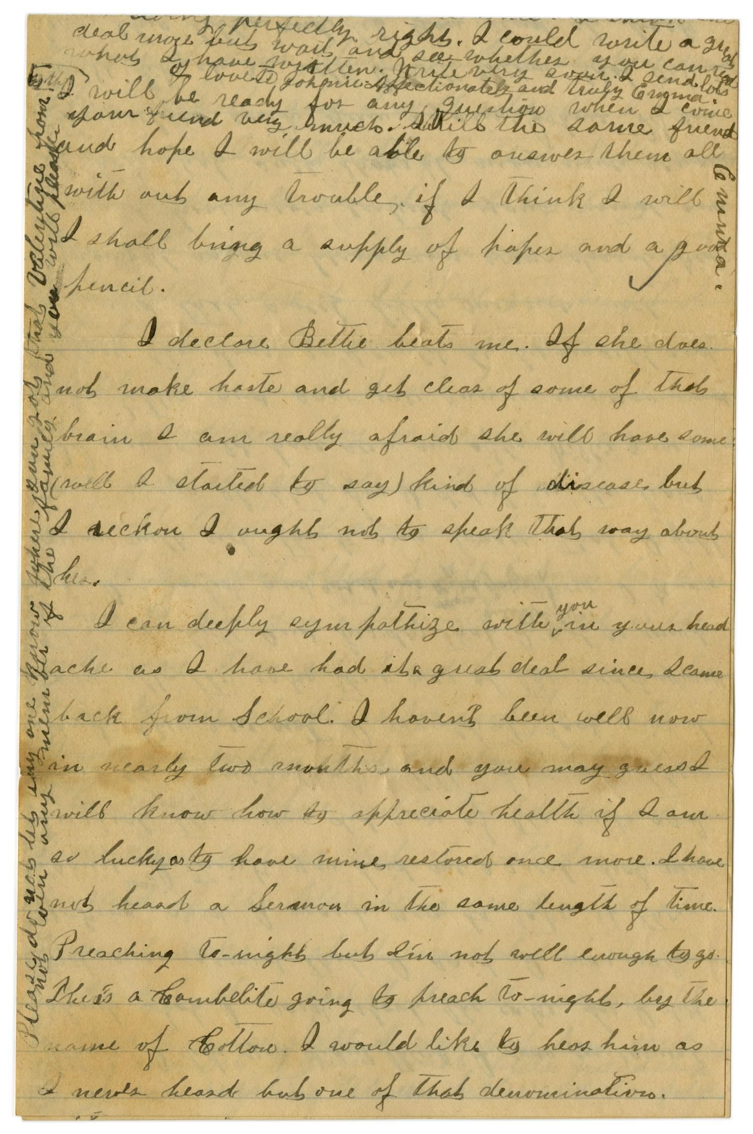 [Letter from Emma Davis to John C. Brewer, March 16, 1879]                                                                                                      [Sequence #]: 4 of 6