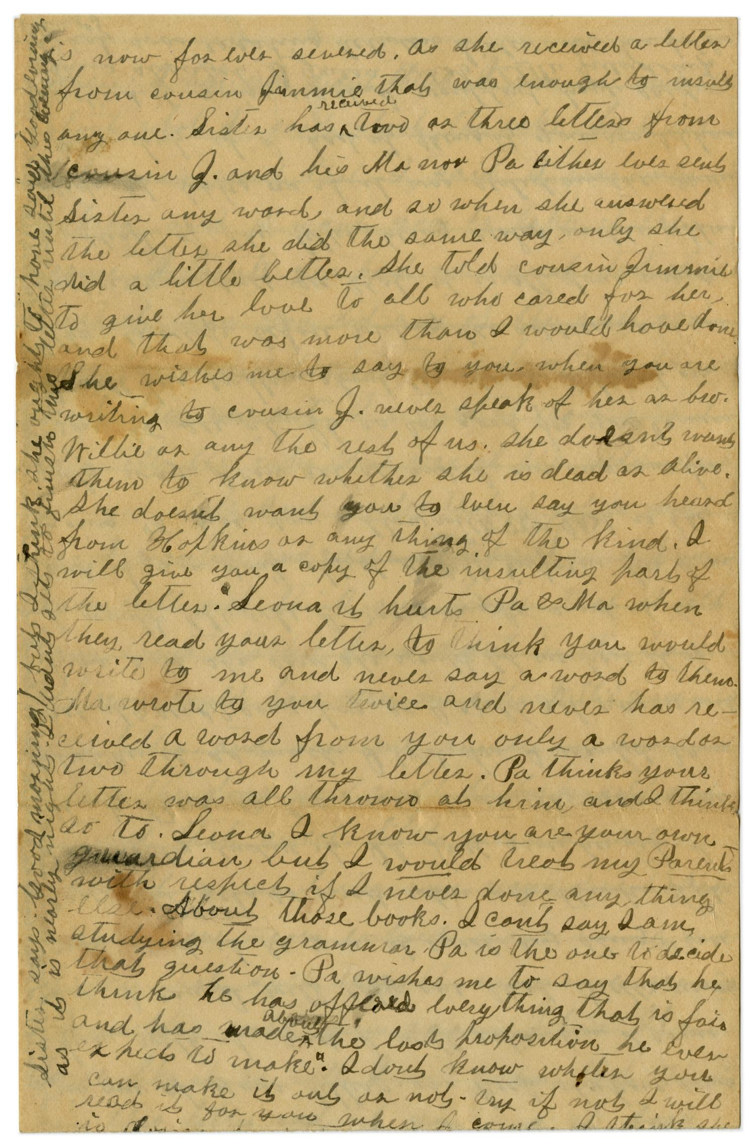 [Letter from Emma Davis to John C. Brewer, March 16, 1879]                                                                                                      [Sequence #]: 6 of 6