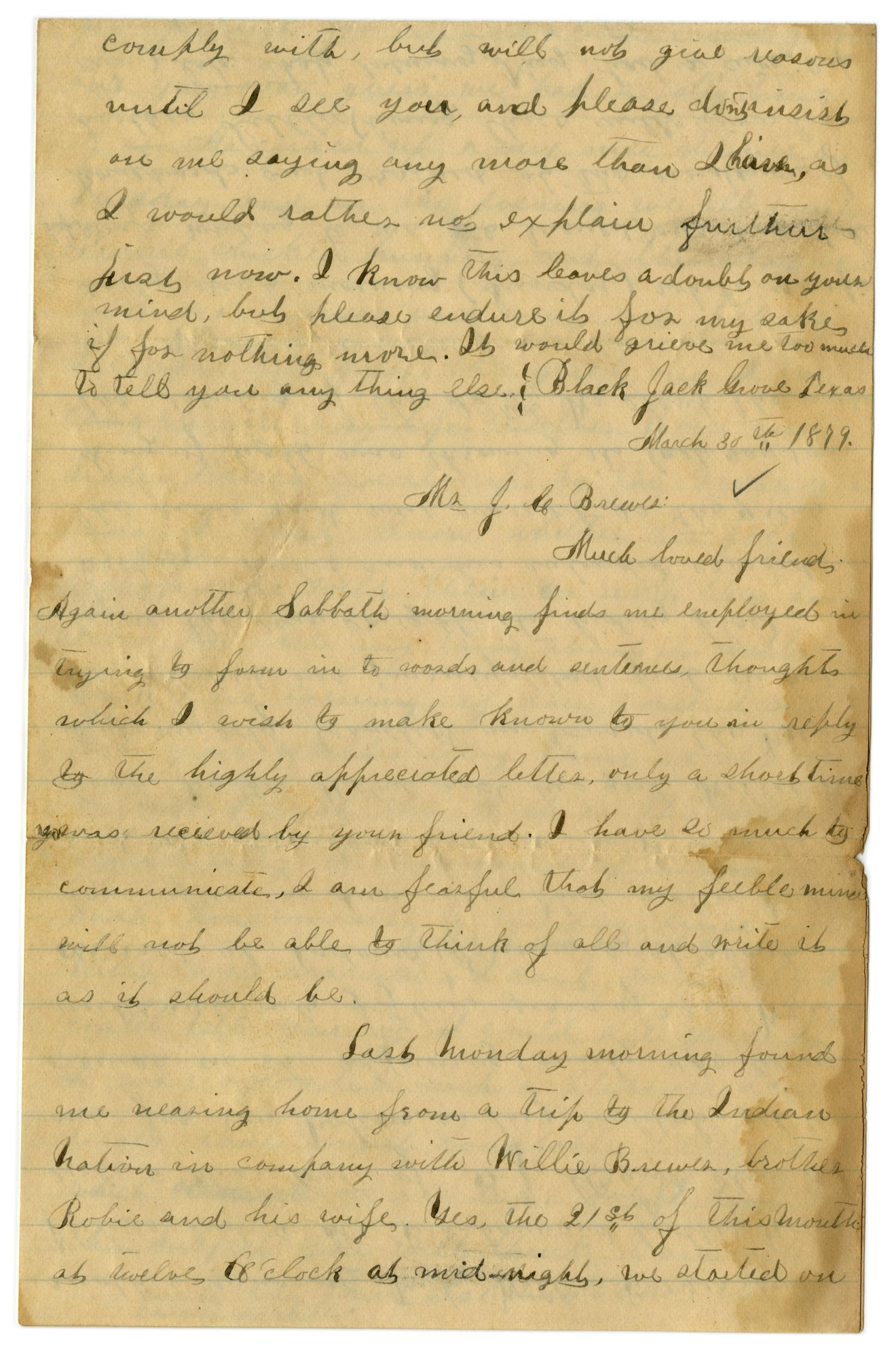 [Letter from Emma Davis to John C. Brewer, March 30, 1879]                                                                                                      [Sequence #]: 1 of 6