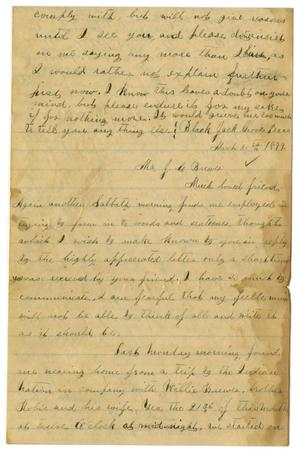 Primary view of object titled '[Letter from Emma Davis to John C. Brewer, March 30, 1879]'.