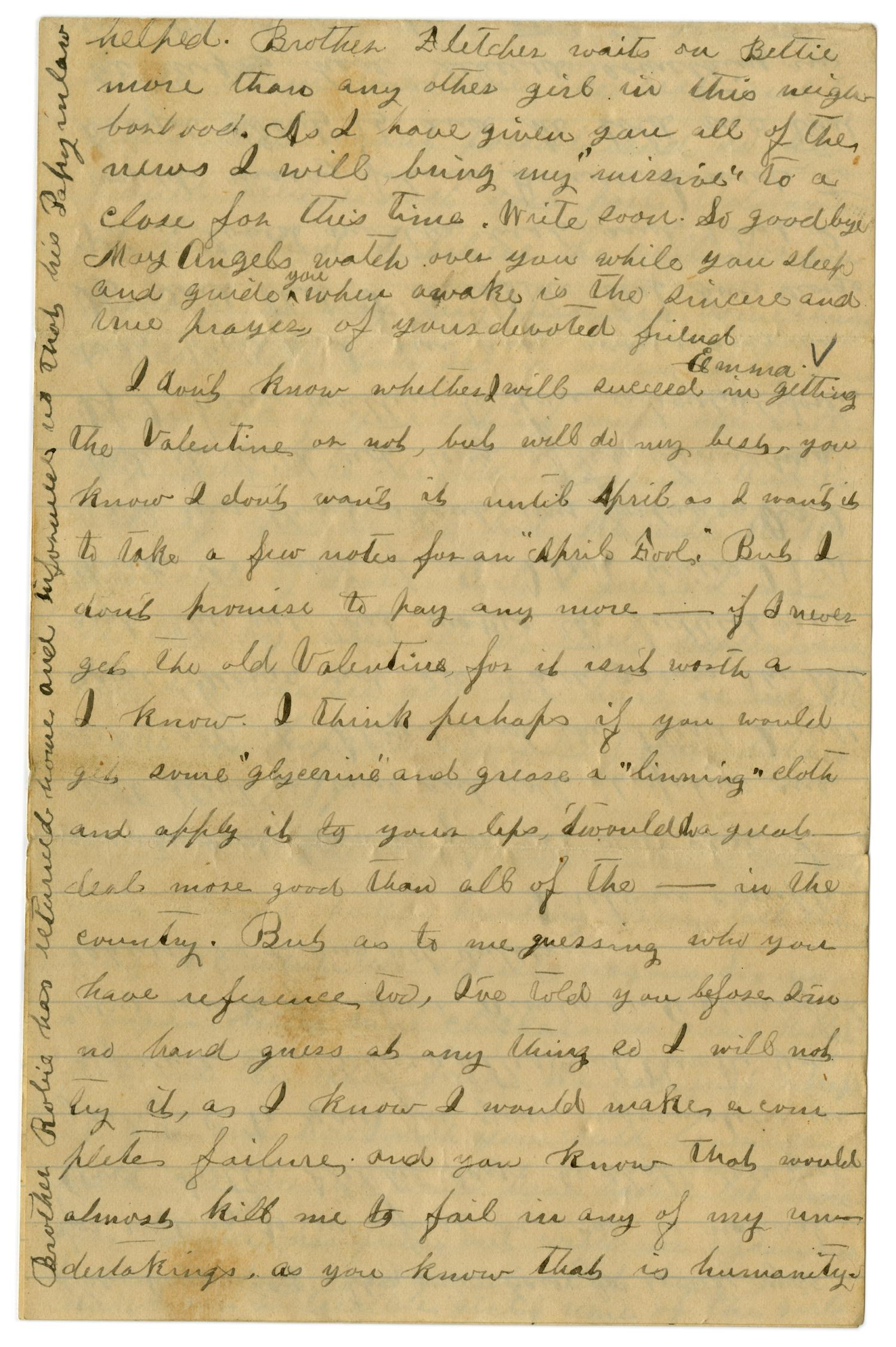 [Letter from Emma Davis to John C. Brewer, March 30, 1879]                                                                                                      [Sequence #]: 4 of 6