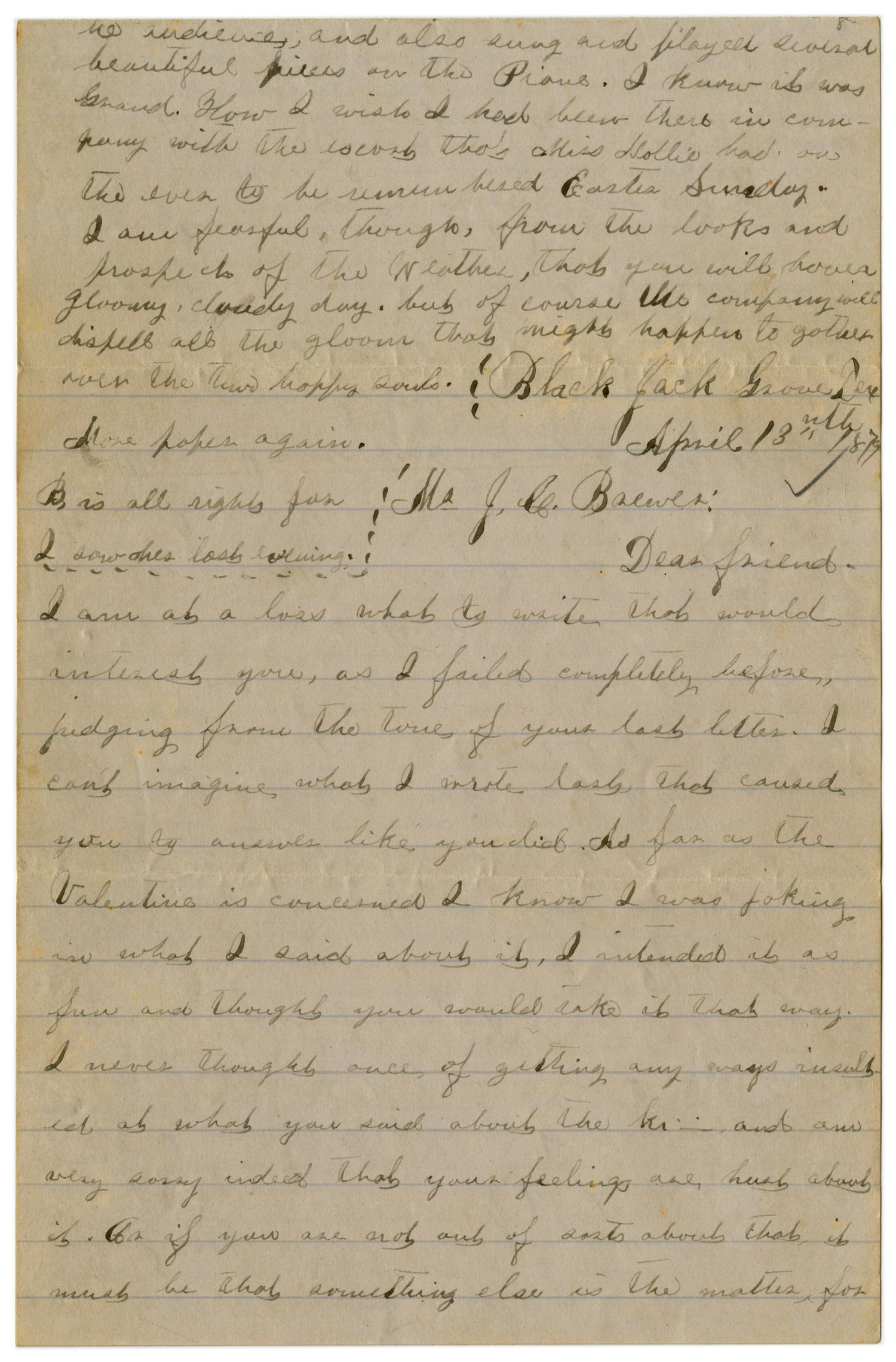 [Letter from Emma Davis to John C. Brewer, April 13 & 14, 1879]                                                                                                      [Sequence #]: 1 of 6
