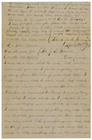 Primary view of object titled '[Letter from Emma Davis to John C. Brewer, April 13 & 14, 1879]'.