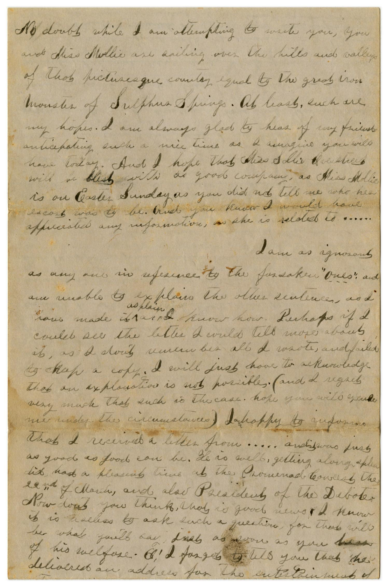 [Letter from Emma Davis to John C. Brewer, April 13 & 14, 1879]                                                                                                      [Sequence #]: 3 of 6