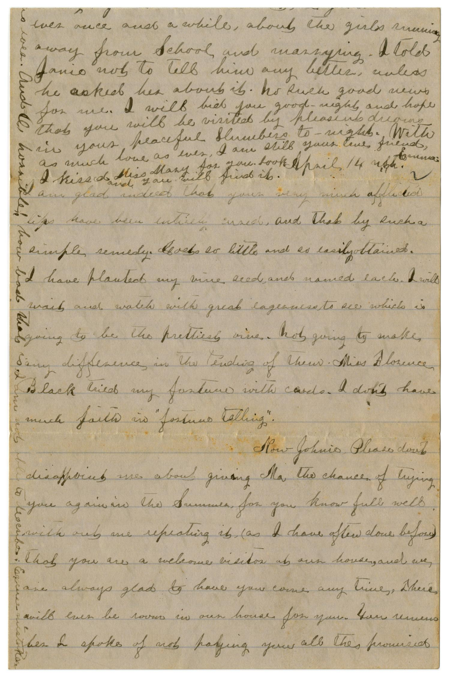 [Letter from Emma Davis to John C. Brewer, April 13 & 14, 1879]                                                                                                      [Sequence #]: 4 of 6